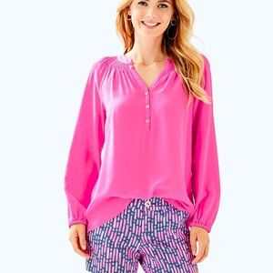 Lilly Pulitzer Elsa Silk Top, Pink , S